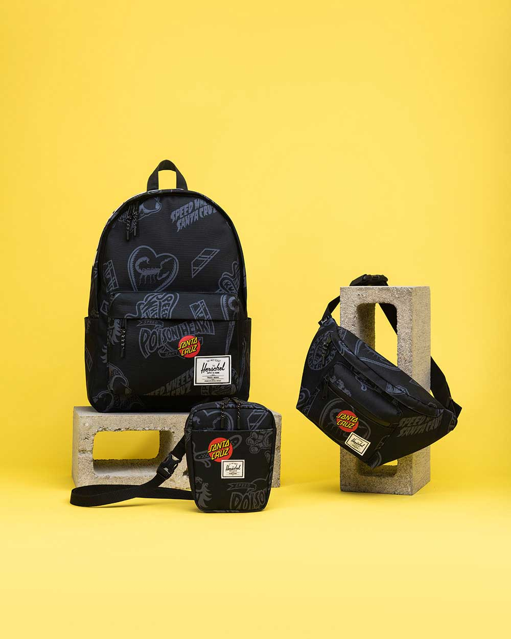 Santa Cruz Classic Backpack XL, Cruz Crossbody und Seventeen Hip Pack in Black Speed Wheels Druck