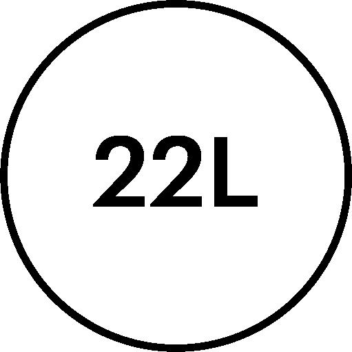 22 litre volume feature icon