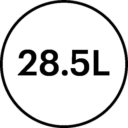 28.5 litre volume feature icon