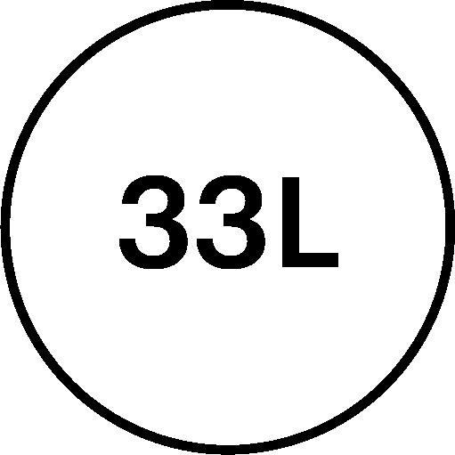 33 litre volume feature icon